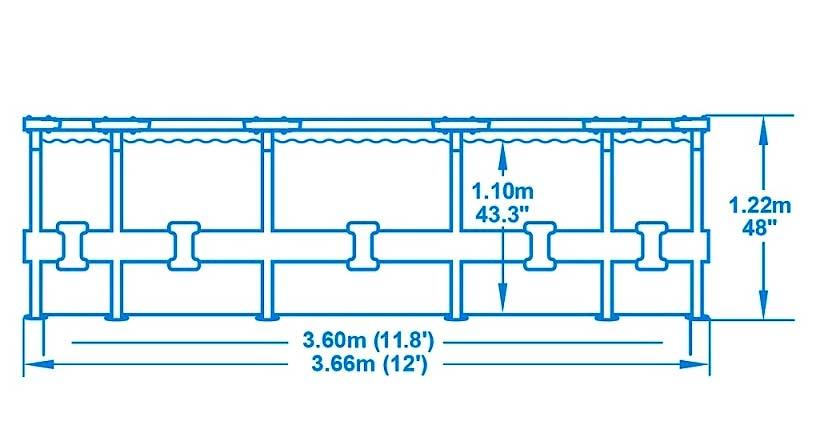 Bazén Bestway 366x122 cm s konstrukcí a kartušovou filtrací