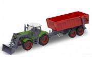 RC traktor s červeným přívěsem 1:28 27MHz