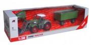 RC traktor se zeleným přívěsem 1:28 27MHz