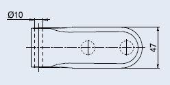 Horizontální pant V-201 leštěná mosaz (V-201 2TLG/OL)