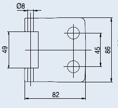 Vertikální pant V-402 ECO broušená nerez (V-402 ECONOMY 2TLG IX)