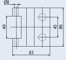 Vertikální pant V-702 ZETA matný nikl (V-702 ZETA 3TLG NS)